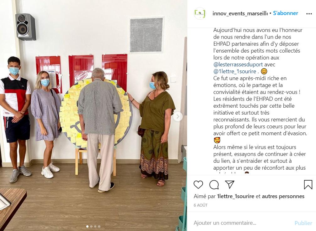 Photo de l'article : Post Instagram avec un panneau dans un EHPAD et un grand-père devant